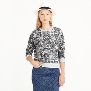 J. Crew Toile Sweatshirt Slouchy Cropped French